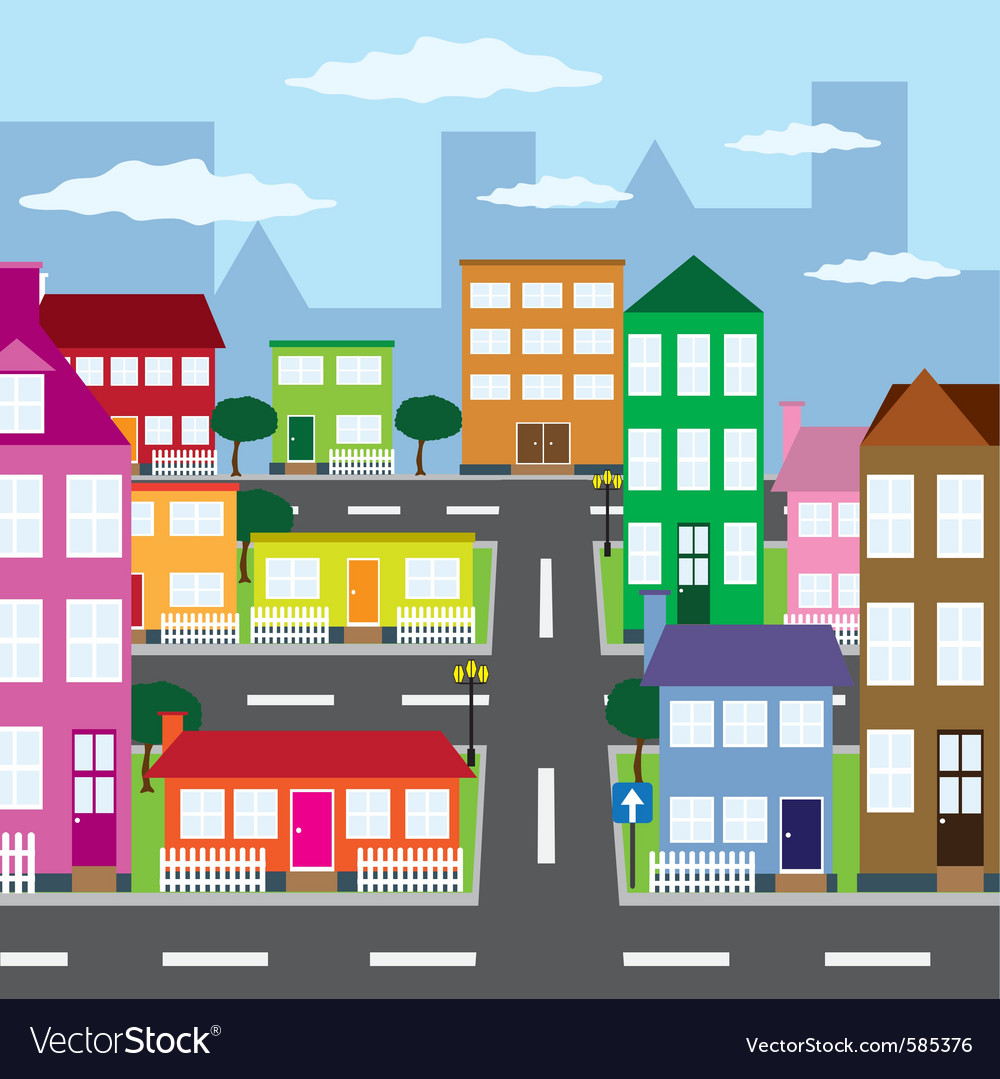 City in sunny day vector | Price: 1 Credit (USD $1)