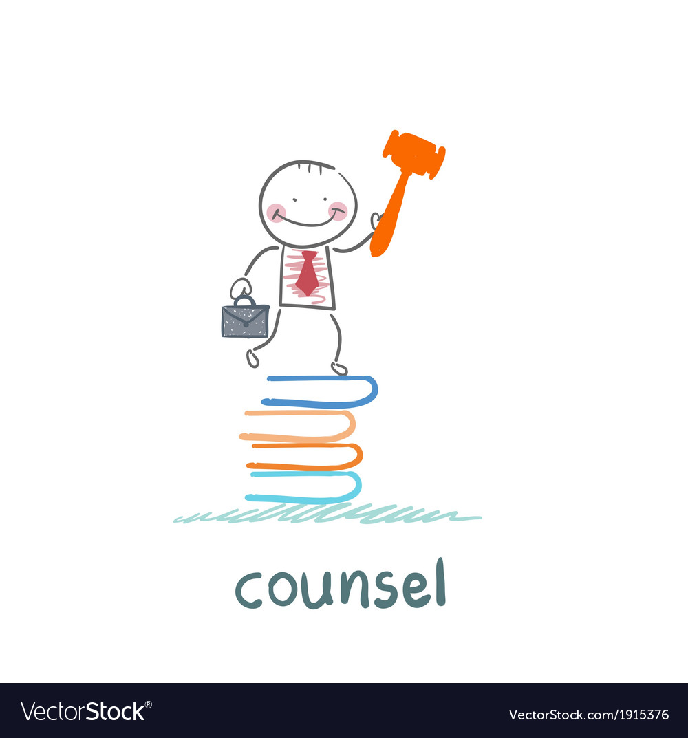 Counsel stands on a pile of books vector | Price: 1 Credit (USD $1)