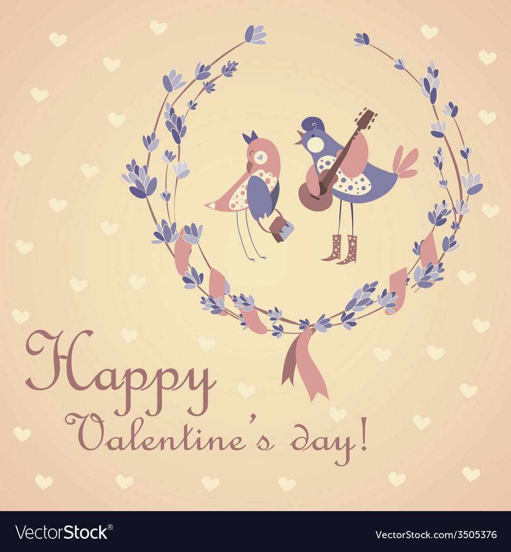 Cute pair of birds celebrating valentines day vector | Price: 1 Credit (USD $1)