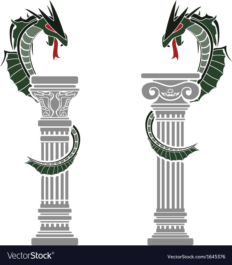 Dragons and columns vector | Price: 1 Credit (USD $1)