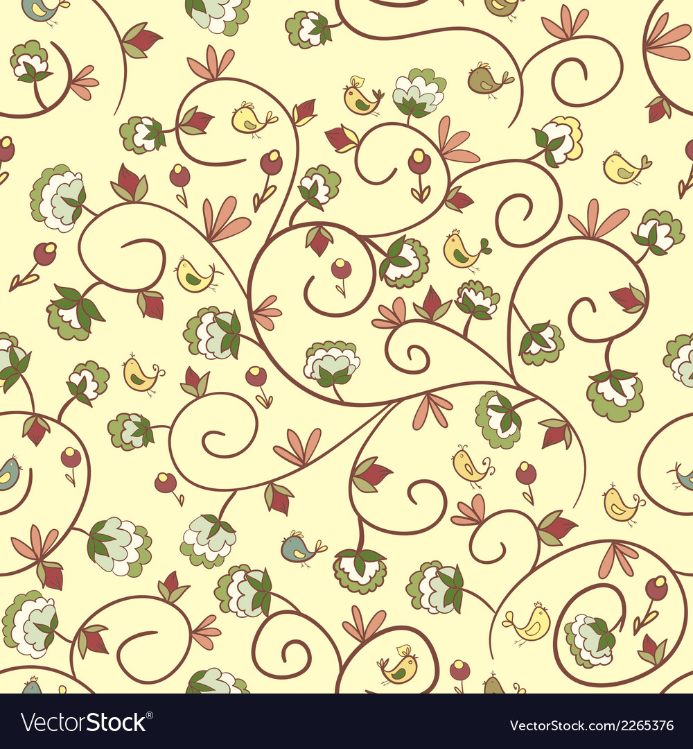 Flowers and birds endless floral pattern vector | Price: 1 Credit (USD $1)