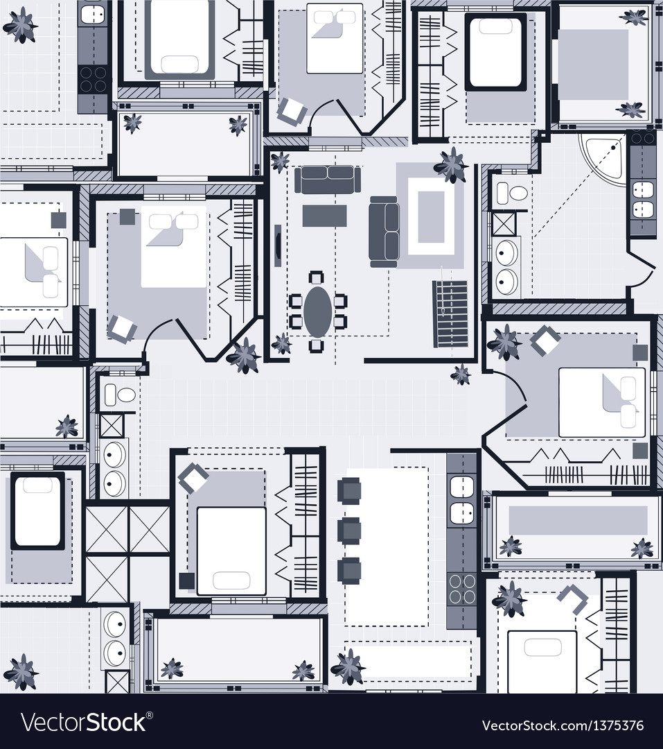 Grey house plan vector | Price: 1 Credit (USD $1)