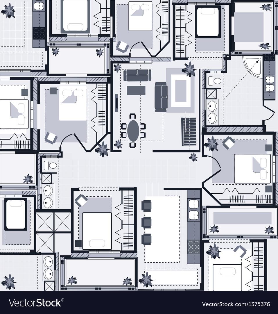 Grey house plan vector | Price: 1 Credit (USD $1)