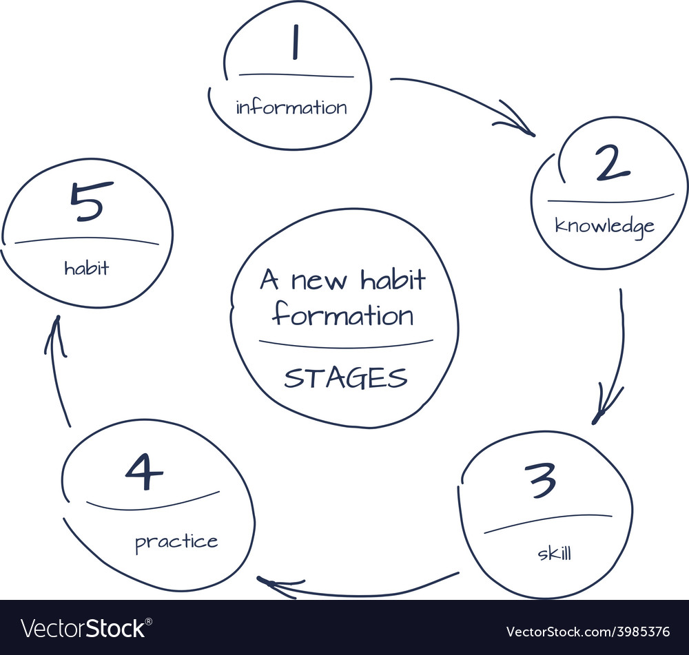 Hand drawn sketch of process step by step diagram vector | Price: 1 Credit (USD $1)