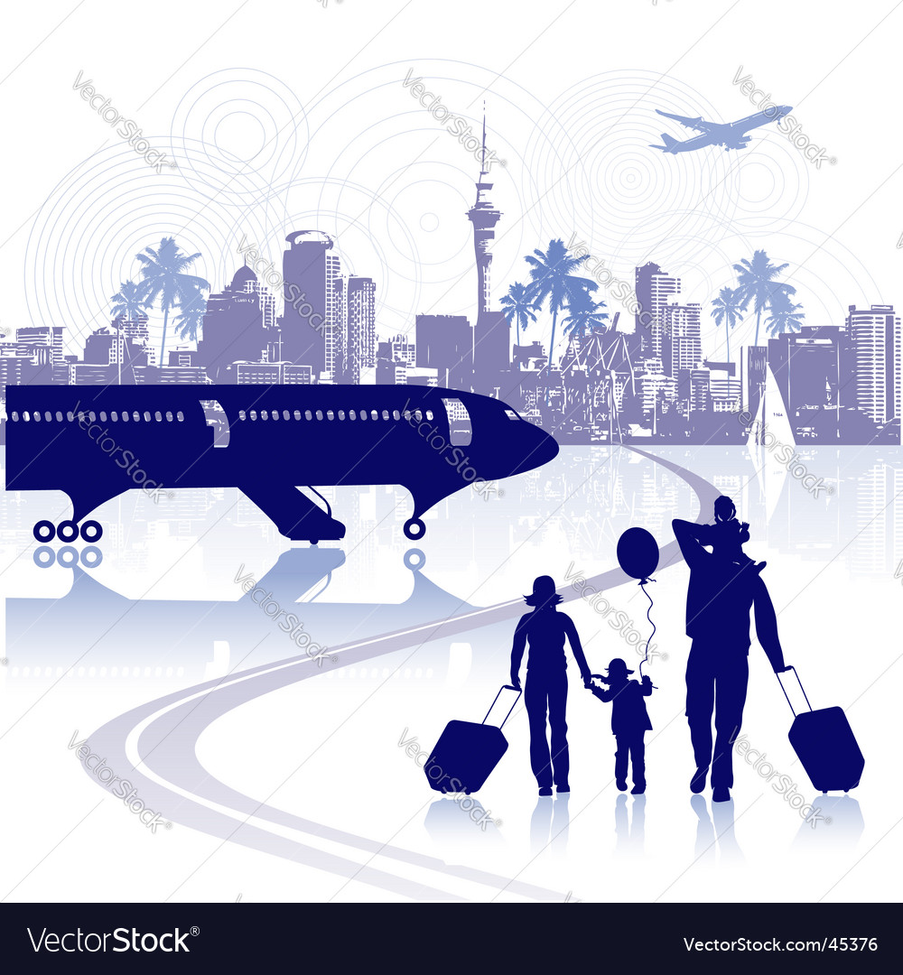 Happy family in airport cityscape vector | Price: 1 Credit (USD $1)