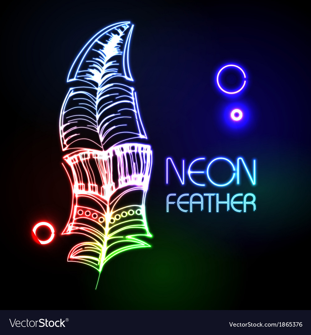 Neon feather vector | Price: 1 Credit (USD $1)
