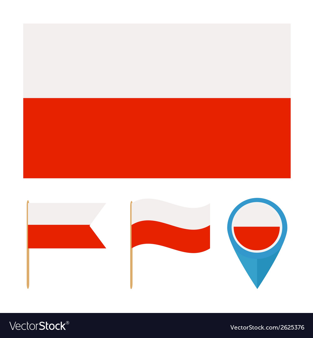 Poland country flag vector | Price: 1 Credit (USD $1)