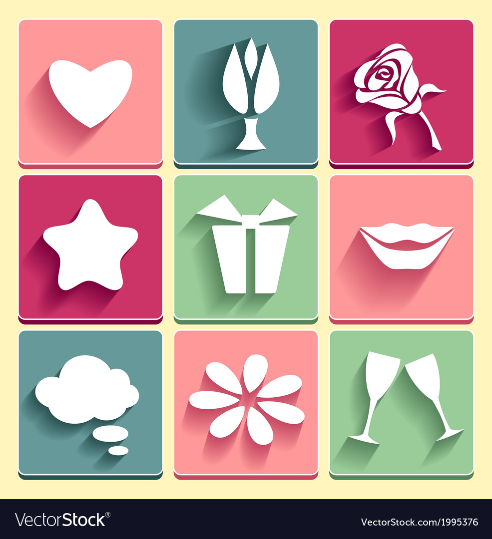 Set love chat favorites congratulation icons vector | Price: 1 Credit (USD $1)