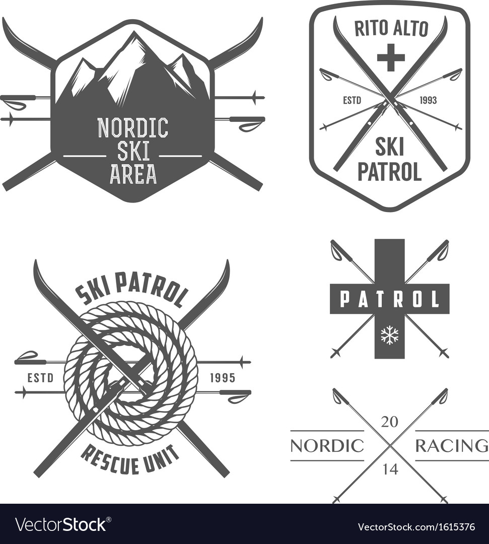 Set of nordic skiing labels and emblems vector | Price: 1 Credit (USD $1)