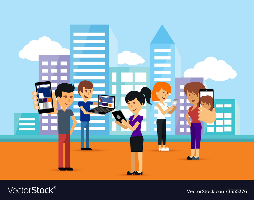 Young people man and woman using technology gadget vector | Price: 1 Credit (USD $1)