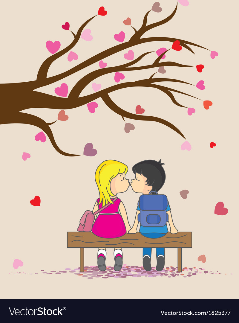 Children they kiss vector | Price: 1 Credit (USD $1)