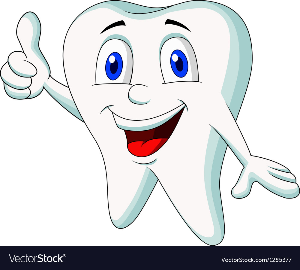 Cute tooth cartoon thumb up vector | Price: 1 Credit (USD $1)