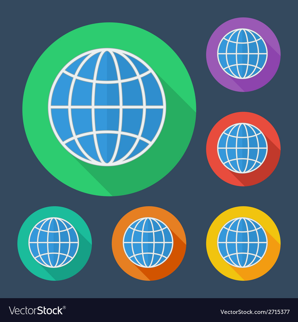 Earth globe icon with long shadow -  six colors vector | Price: 1 Credit (USD $1)