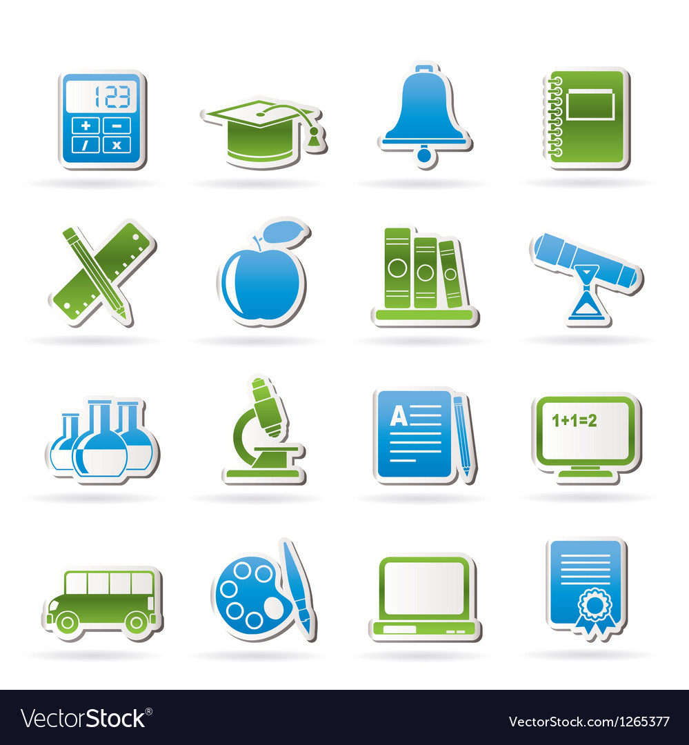 Education and school objects icons vector | Price: 3 Credit (USD $3)