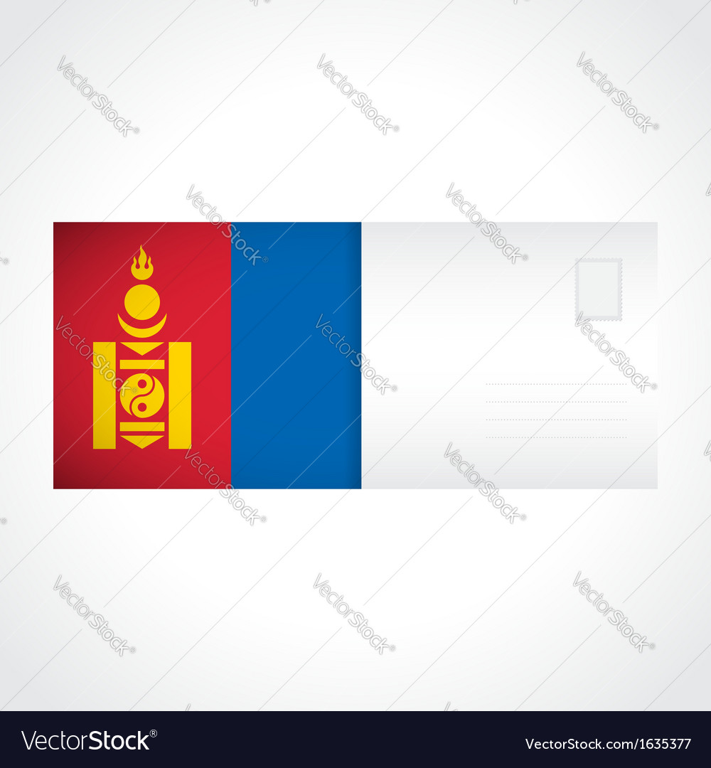Envelope with mongolian flag card vector | Price: 1 Credit (USD $1)