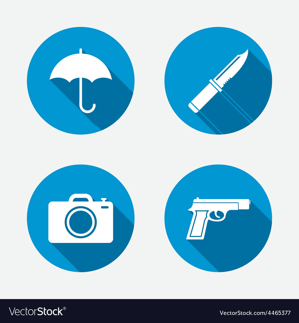 Gun weapon knife umbrella and photo camera vector | Price: 1 Credit (USD $1)