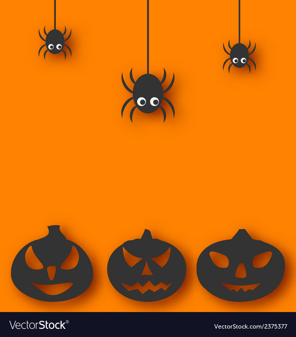 Halloween background with hanging spiders and vector