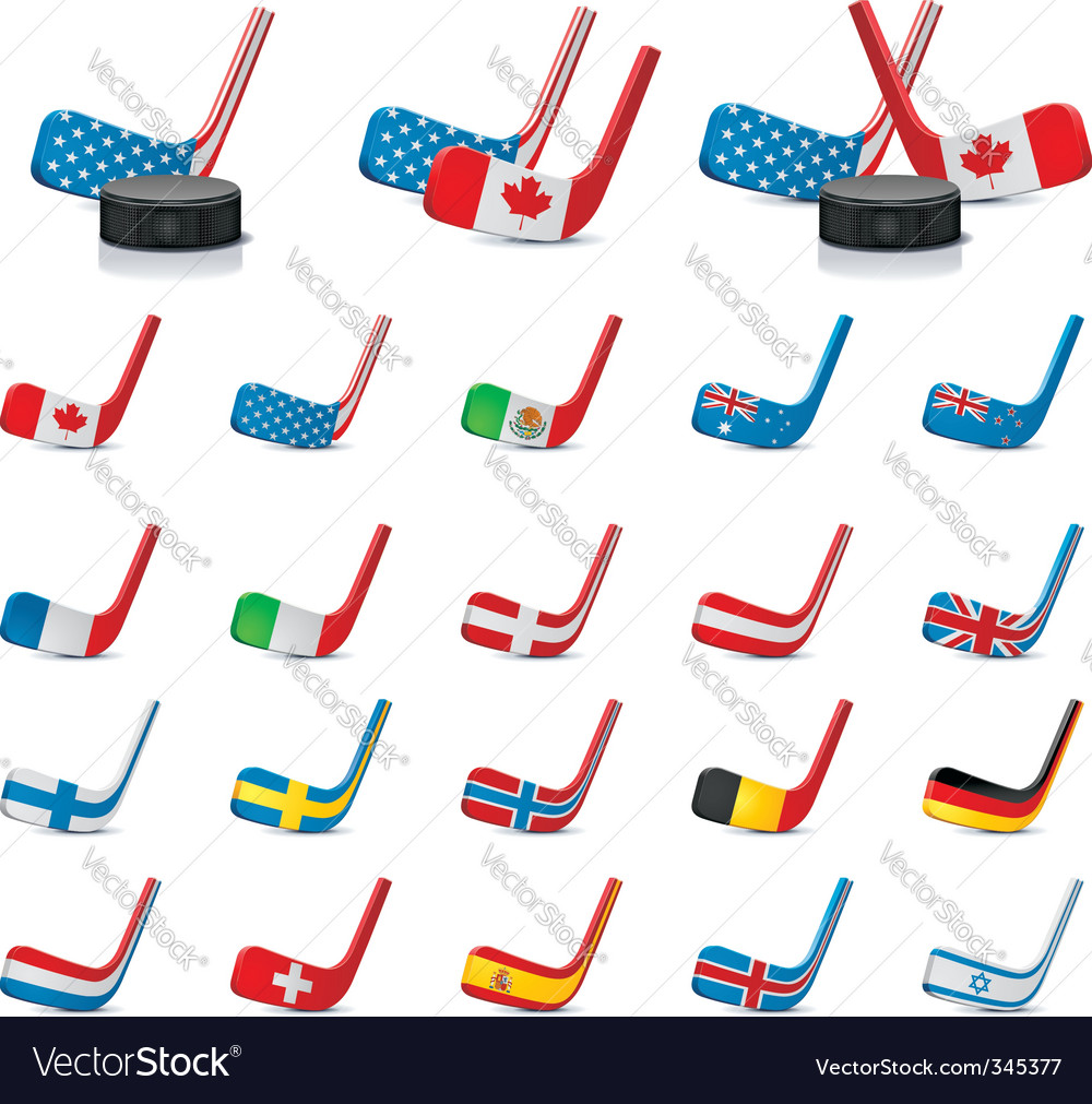 Hockey sticks with flags vector | Price: 3 Credit (USD $3)