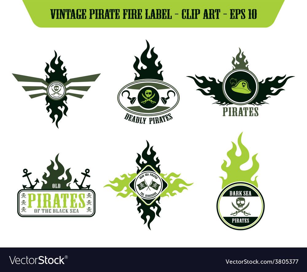 Pirate icon label sticker vector | Price: 1 Credit (USD $1)