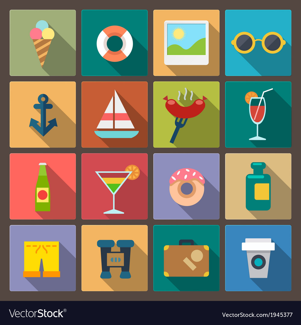 Set of recreation icons in flat design style vector | Price: 1 Credit (USD $1)