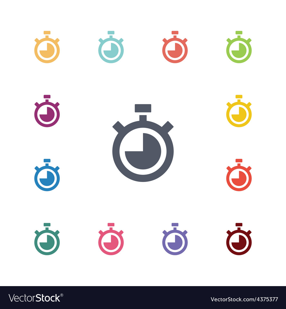 Timer flat icons set vector | Price: 1 Credit (USD $1)