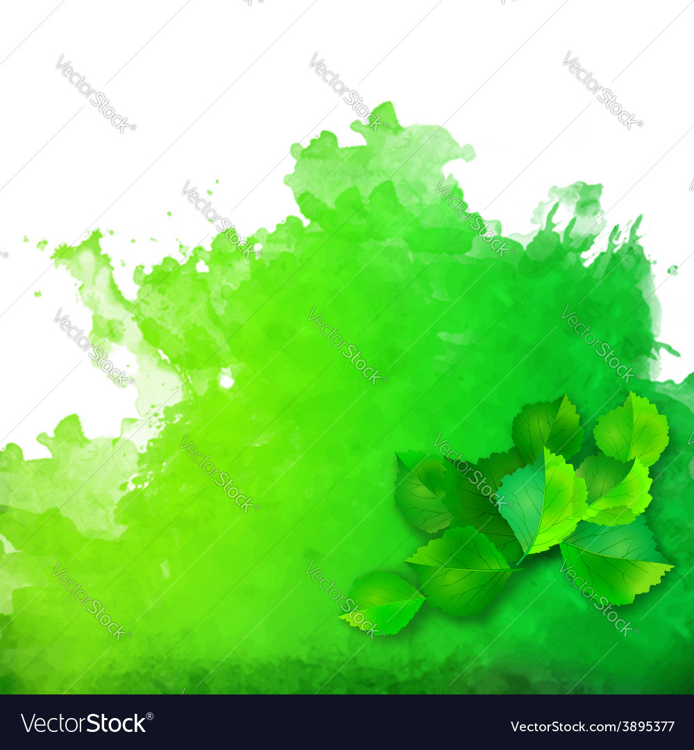 Watercolor spot with green leaves vector | Price: 1 Credit (USD $1)