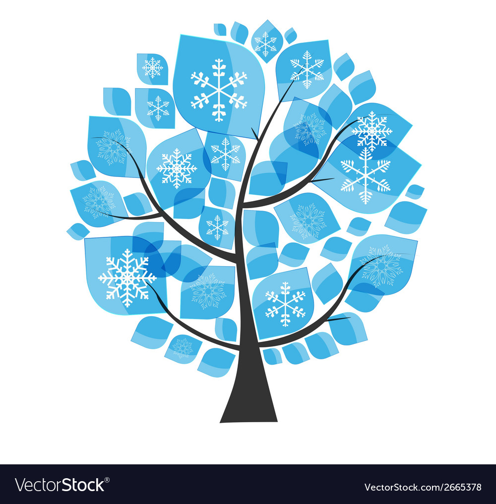 Beautiful blue winter tree with snowflakes on a vector | Price: 1 Credit (USD $1)