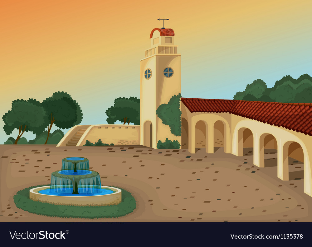 Beautiful building in nature vector | Price: 1 Credit (USD $1)