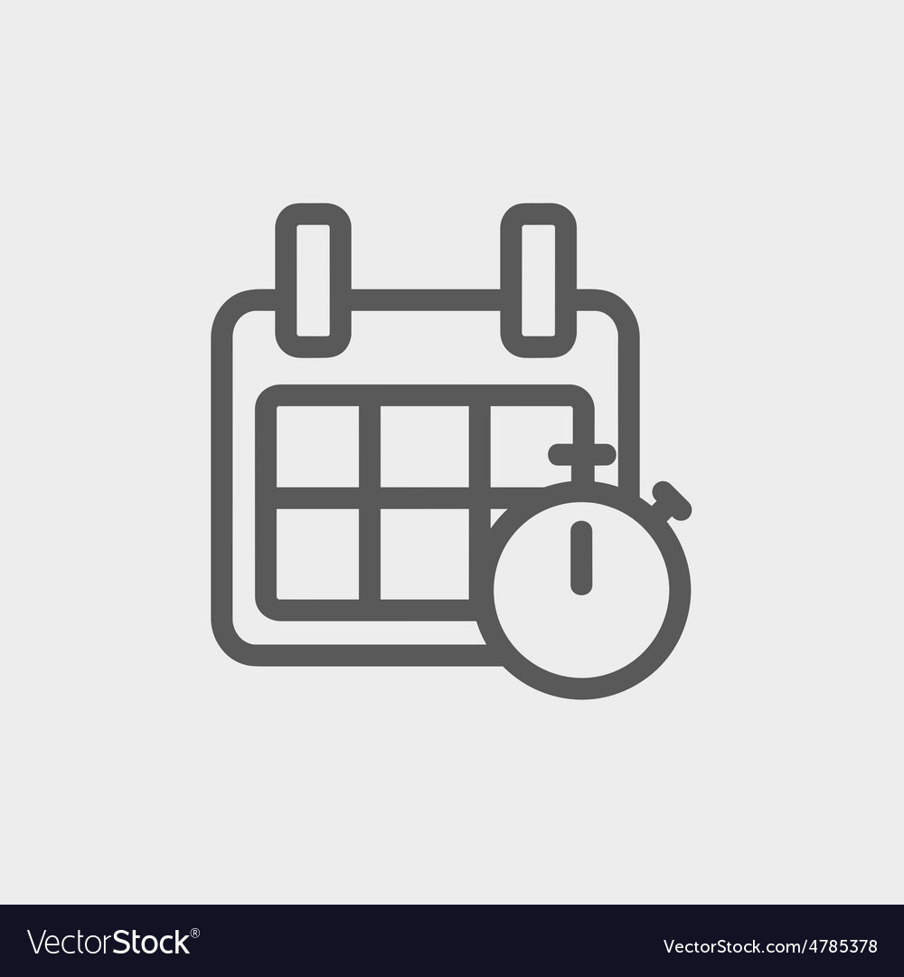 Calendar and stopwatch thin line icon vector
