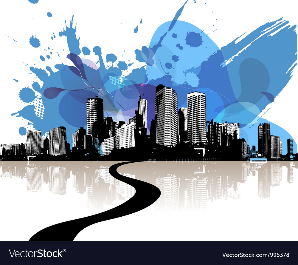 City skyscrapers with abstract blue clouds vector | Price: 1 Credit (USD $1)