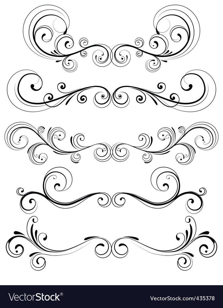 Floral decorative elements vector | Price: 1 Credit (USD $1)