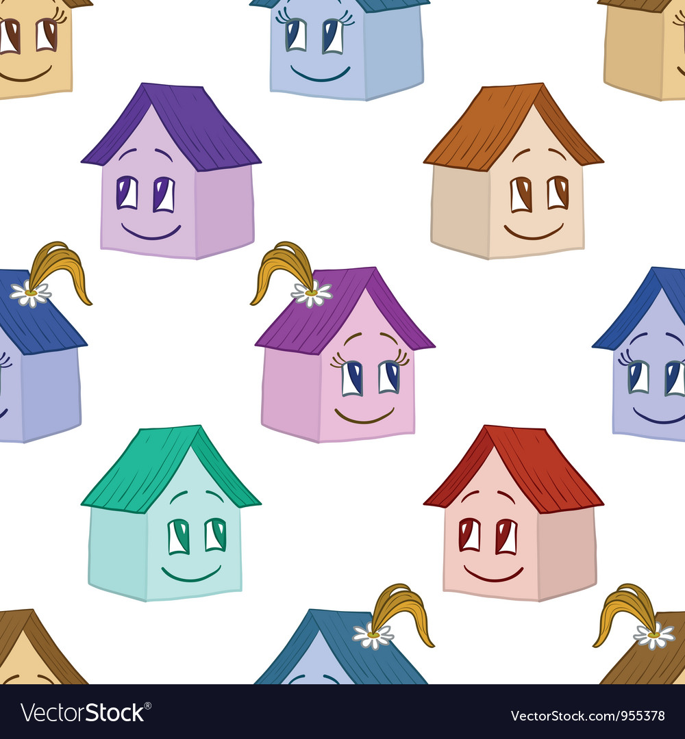 Houses girl and boy seamless background vector | Price: 1 Credit (USD $1)