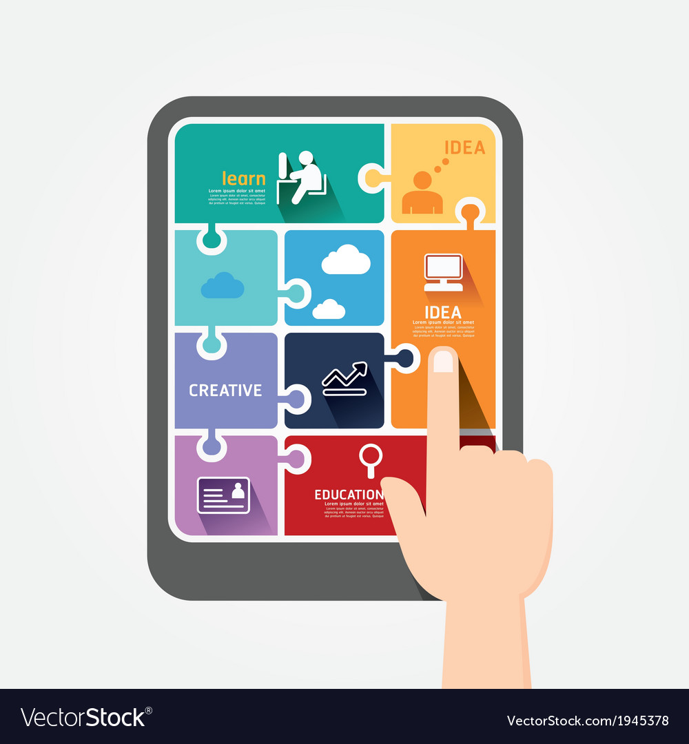 Infographic finger push tablet template jigsaw vector | Price: 1 Credit (USD $1)