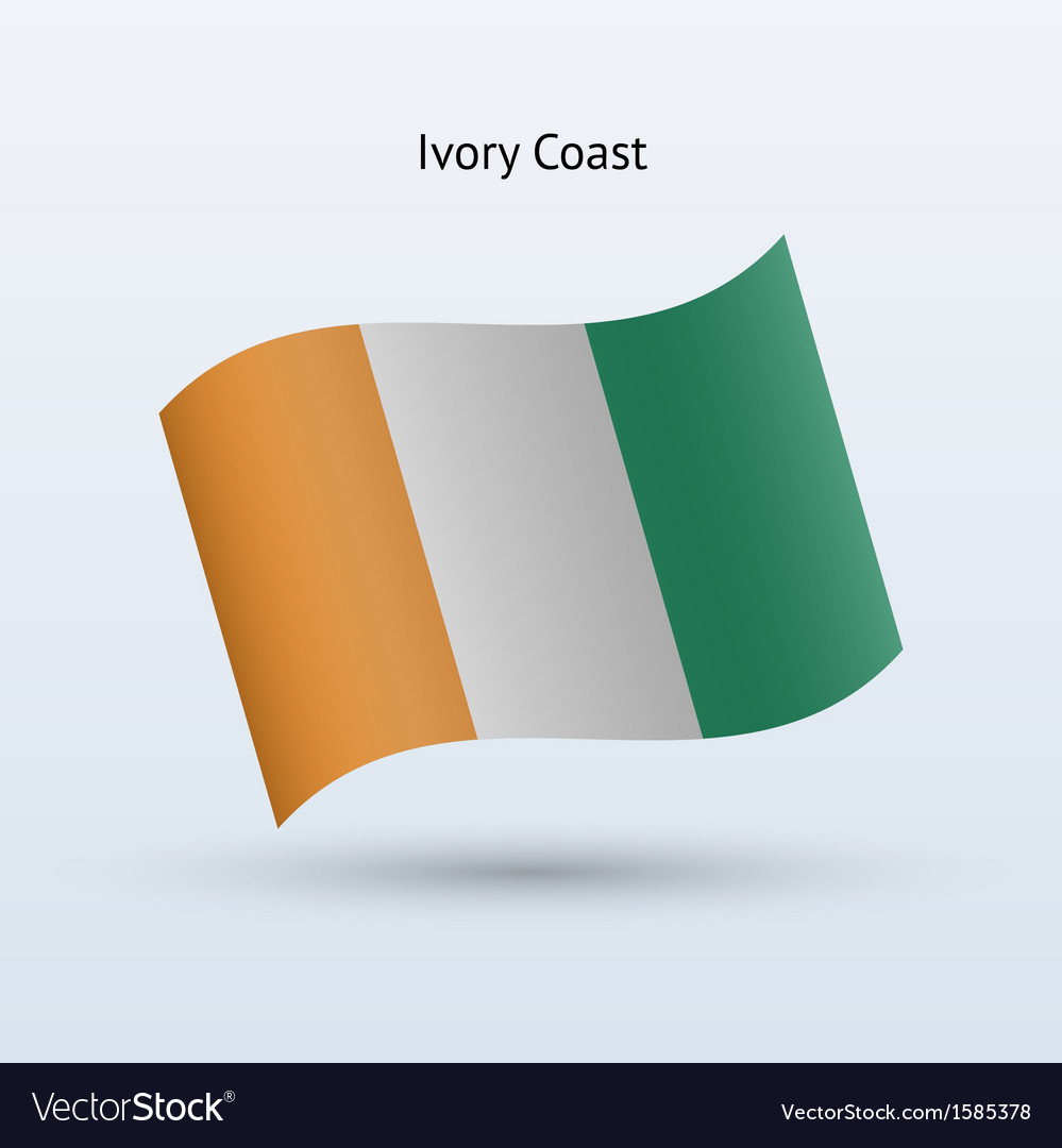 Ivory coast flag waving form vector | Price: 1 Credit (USD $1)