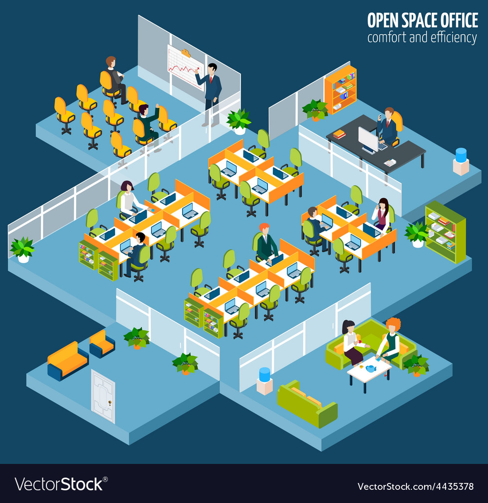 Open space office vector | Price: 1 Credit (USD $1)