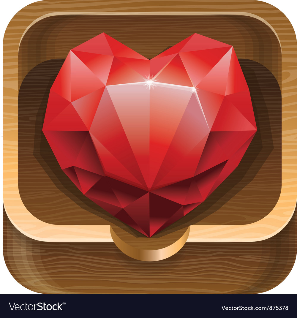 Red diamond heart in wooden box vector | Price: 1 Credit (USD $1)