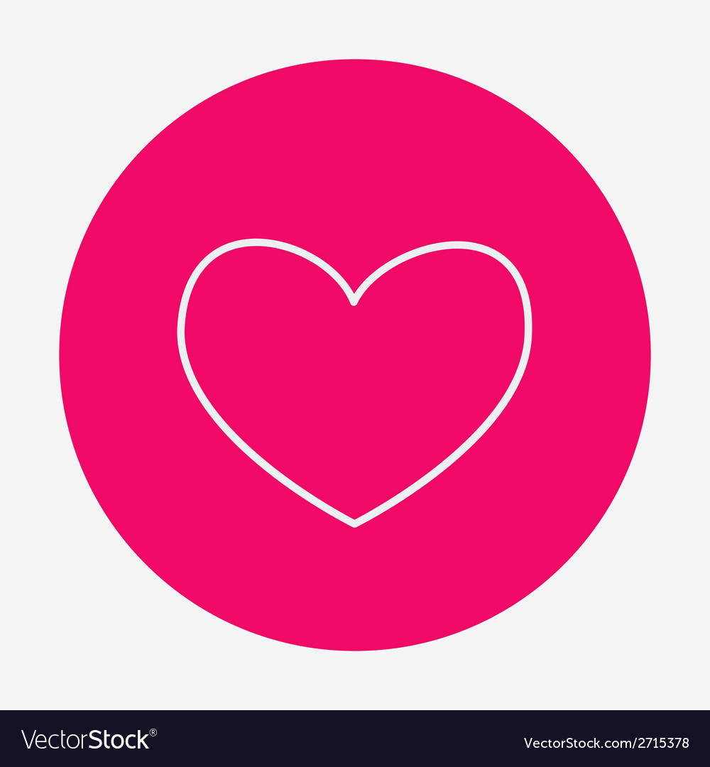 Single flat heart contour icon vector | Price: 1 Credit (USD $1)