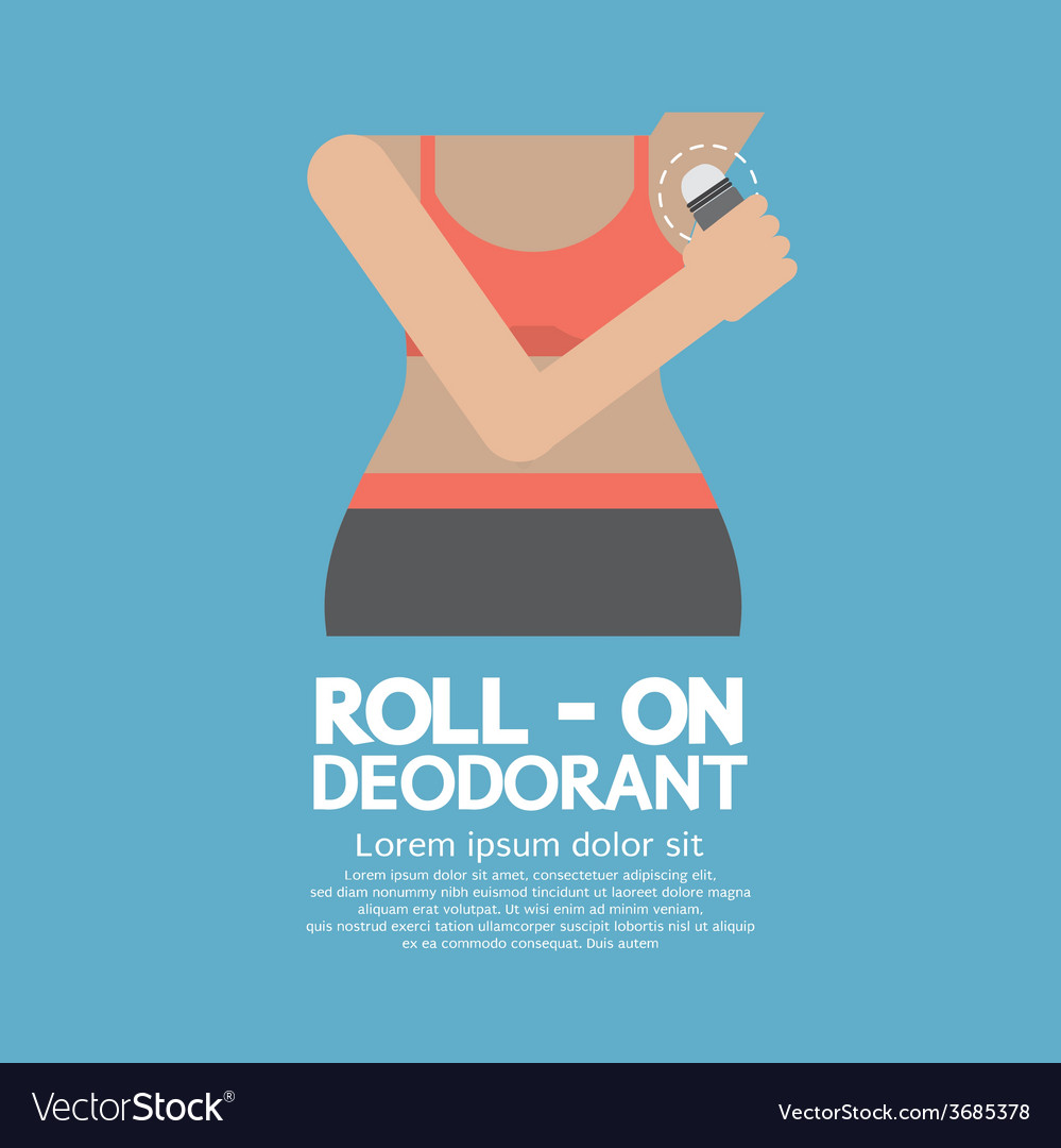 Sporty woman using roll-on deodorant vector | Price: 1 Credit (USD $1)
