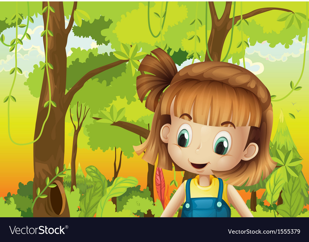 A cute little girl in the forest vector | Price: 3 Credit (USD $3)