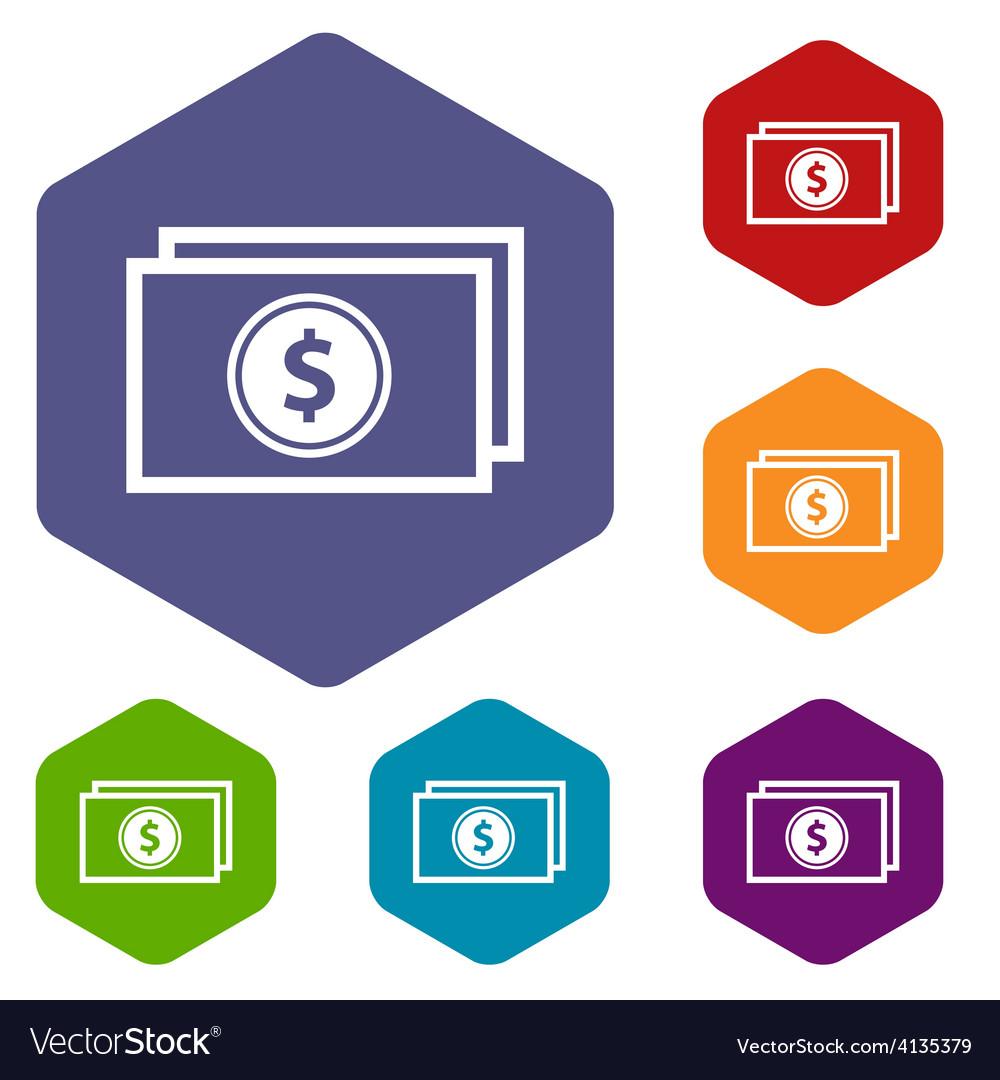 Buck rhombus icons vector | Price: 1 Credit (USD $1)