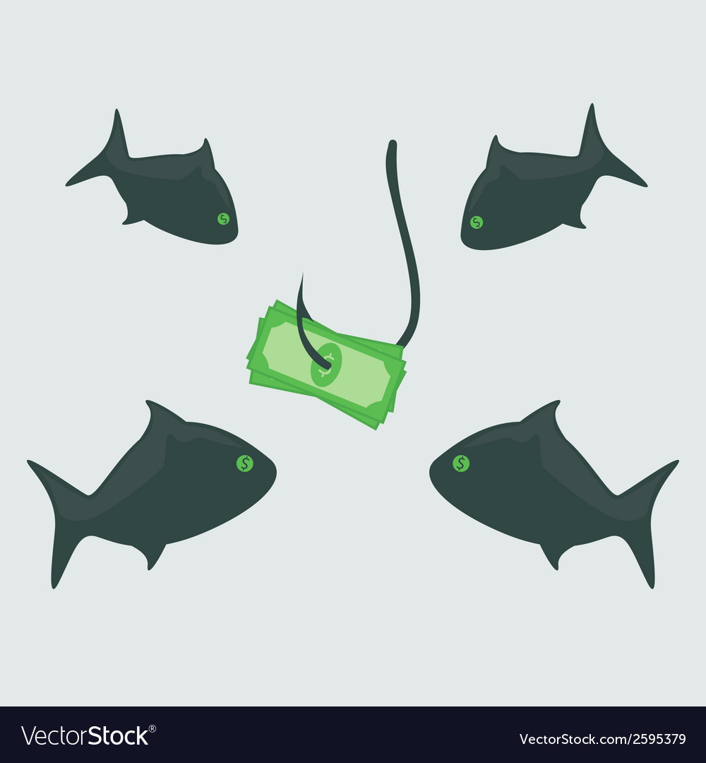 Business shark with money vector | Price: 1 Credit (USD $1)
