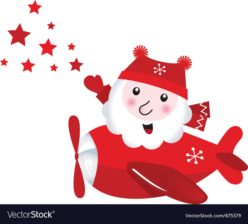 Cute flying santa touching christmas stars vector | Price: 1 Credit (USD $1)