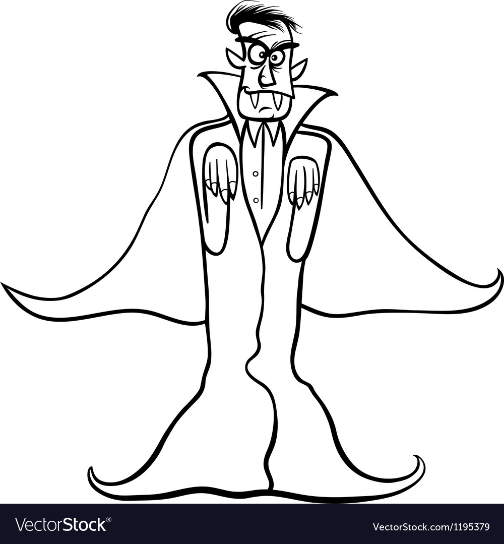 Dracula vampire cartoon for coloring book vector | Price: 1 Credit (USD $1)
