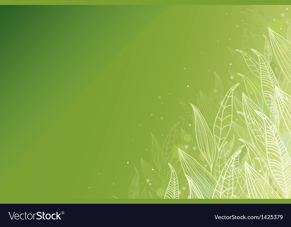 Green glowing leaves horizontal background vector | Price: 1 Credit (USD $1)