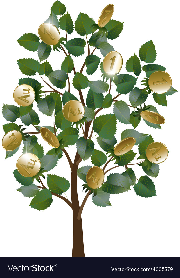 Money tree with leaves and gold coins vector | Price: 1 Credit (USD $1)