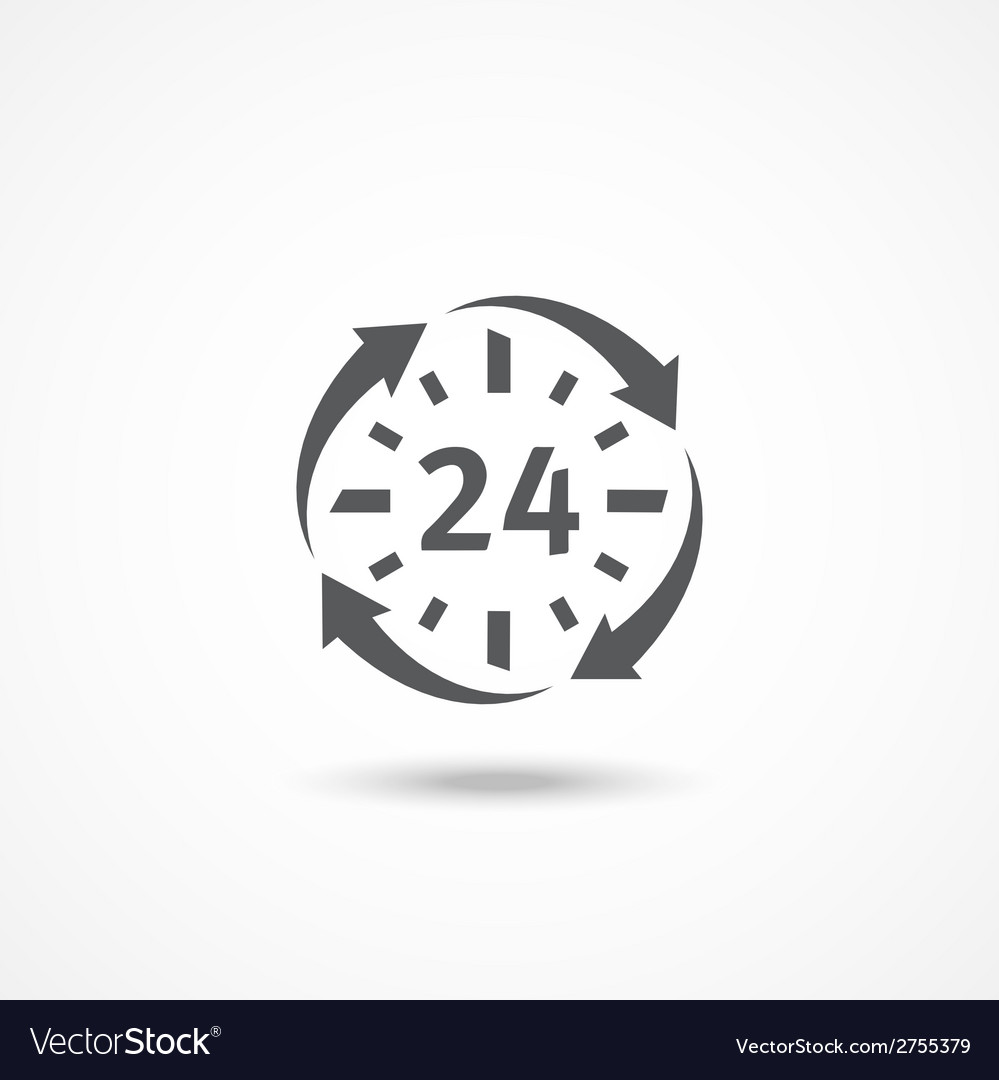 Open 24 hours a day icon vector | Price: 1 Credit (USD $1)