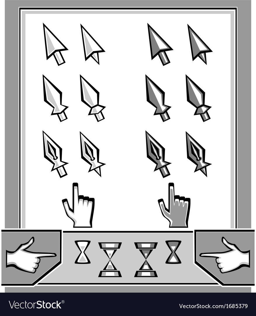 Set cursors icons arrow spear pen hand hourg vector | Price: 1 Credit (USD $1)
