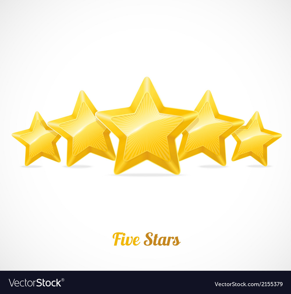 Star rating with five gold stars concept vector | Price: 1 Credit (USD $1)