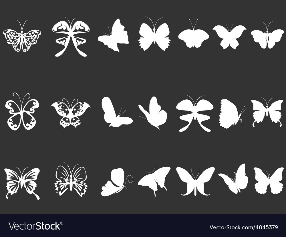 White butterfly silhouettes vector   Price: 1 Credit (USD $1)