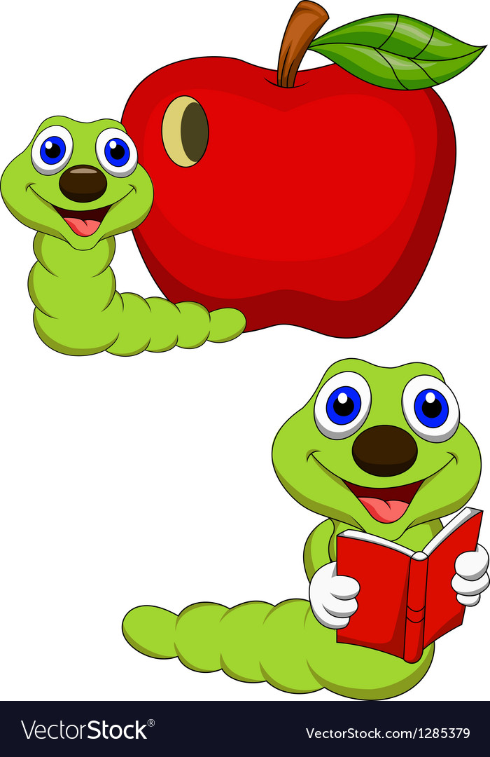 Worm cartoon reading book vector | Price: 1 Credit (USD $1)